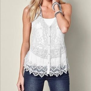 🔵H&M Eggshell White Sleeveless Lace Top